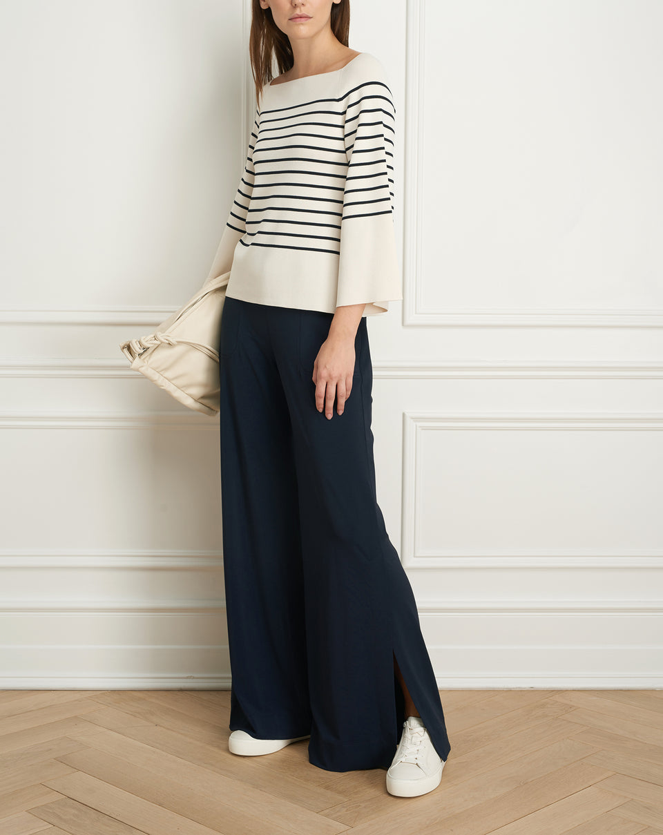 Striped boatneck Viscose rib knit