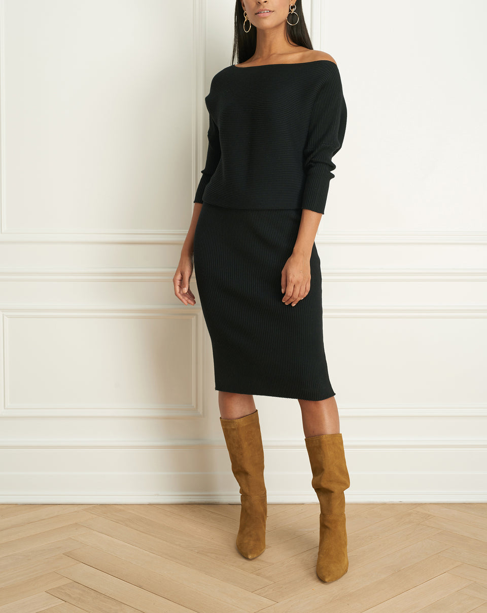 Wool Blend Boat Neck Dress