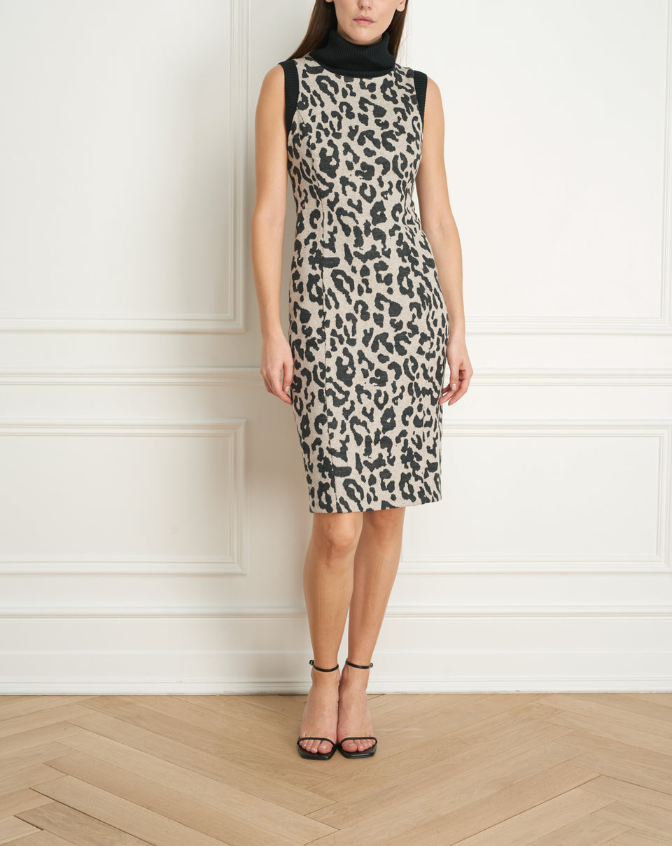 Leopard Jacquard Dress Wth Knit Collar