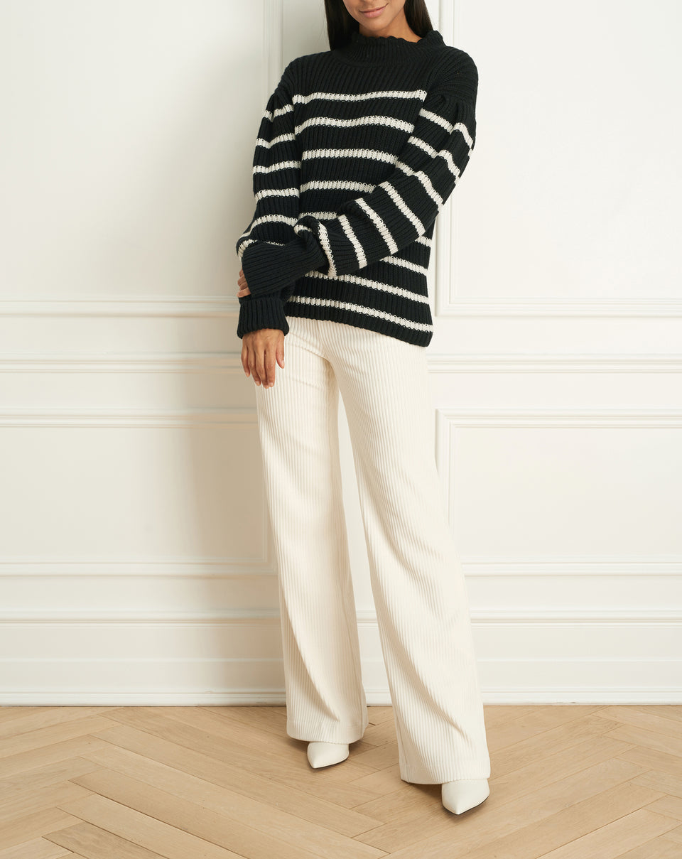 Alpaca Wool Blend Striped Sweater (F20LOUKA)