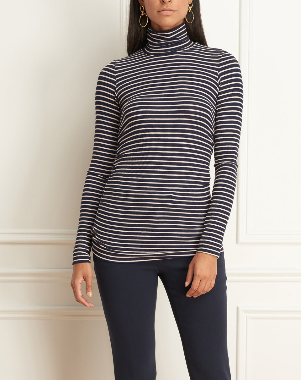 Turtleneck Striped Top