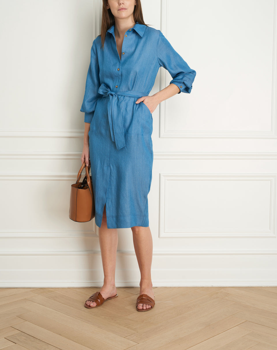 Polo shirt dress with belt