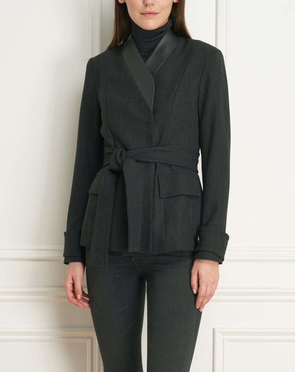 Jacket Wth Leather Collar Trim And Belt