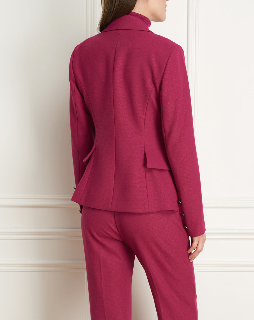 2 Tone Stretch Jacket  With Side Peplum