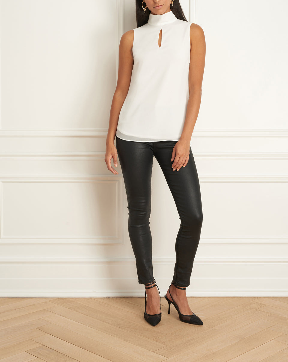 Sleeveless Top With Mock Neck