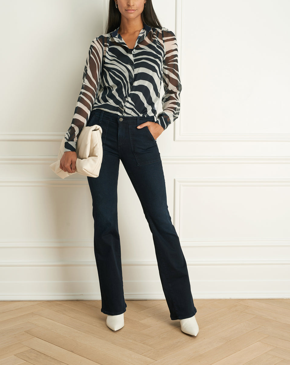 Zebra Print Long Sleeves Blouse (F20ZP1364)