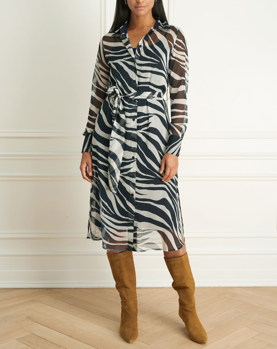 Zebra Print Long Sleeves Dress Wth Belt