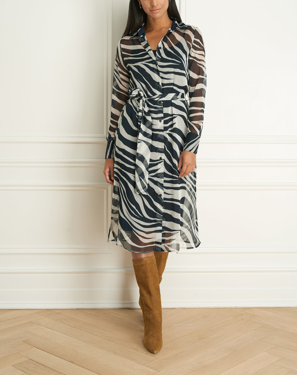 Zebra Print Long Sleeves Dress Wth Belt (F20ZP5669)