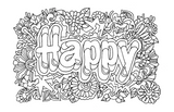 Happier Mind Journal: Adult Coloring Book