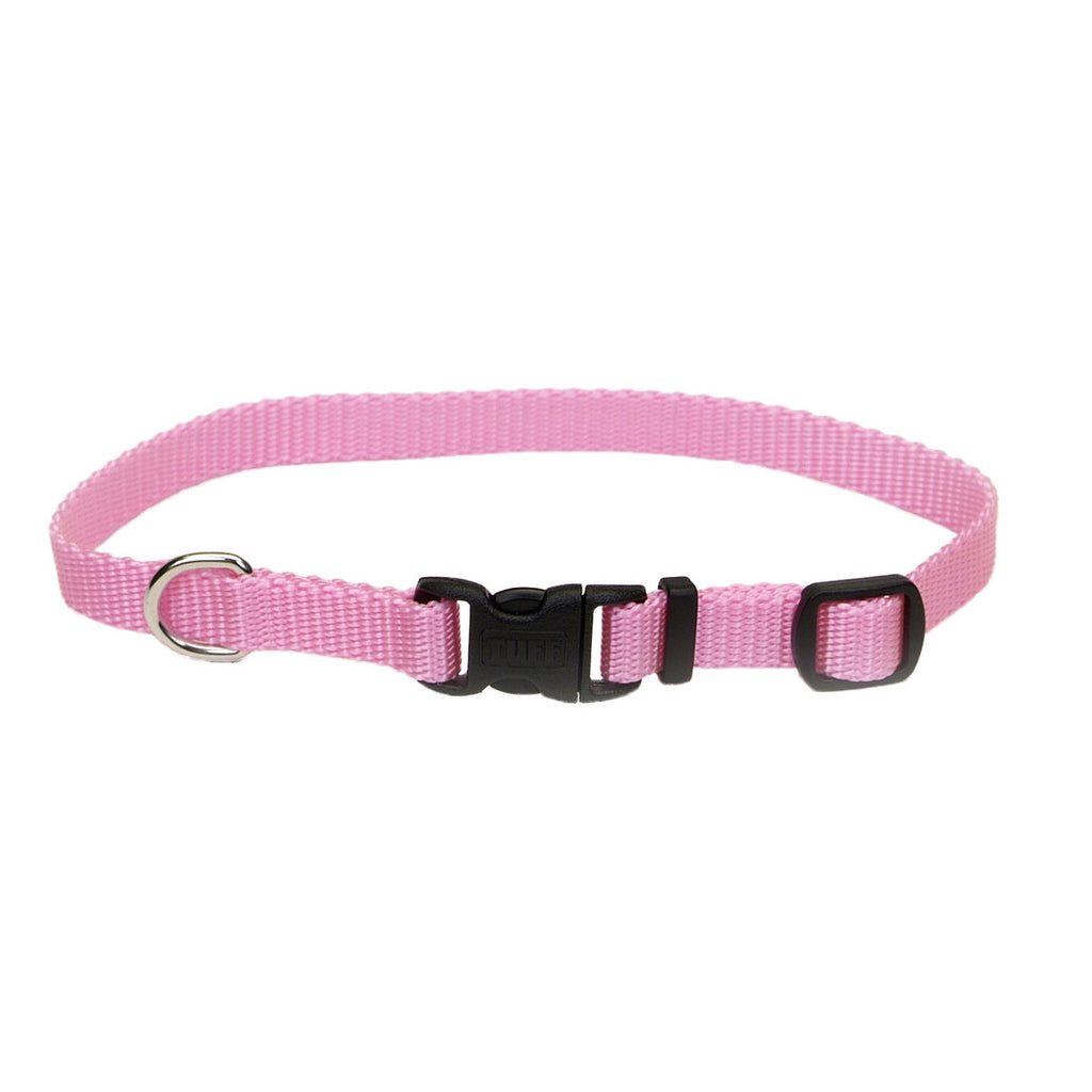 Coastal Pink Adjustable Nylon Dog Collar with Tuff Buckle