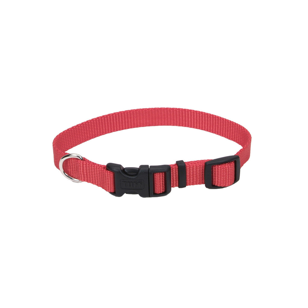 Coastal Red Adjustable Nylon Dog Collar with Tuff Buckle