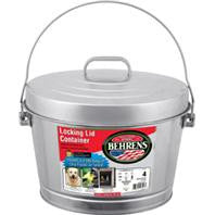 Galvanized Steel Utility Can, Locking Lid, 4 Gallon