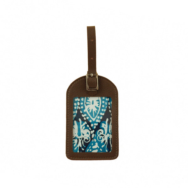 Leather Luggage Tag - Ocean Blue Peacock