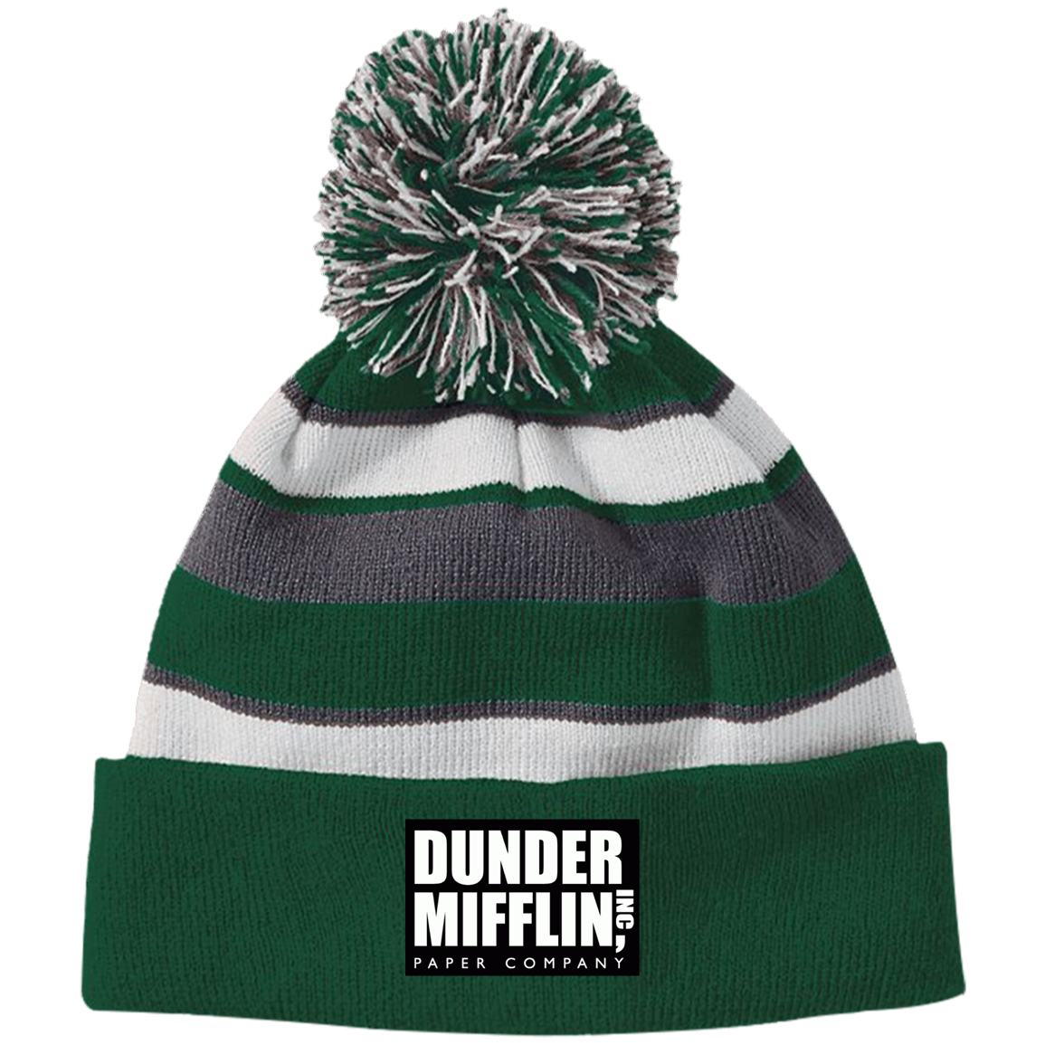 Dunder Mifflin 223835 Holloway Striped Beanie with Pom