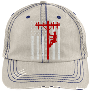 American Lineman 6990 Distressed Unstructured Trucker Cap