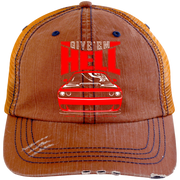 Give'em Hell Dodge Challenger Hellcat 6990 Distressed Unstructured Trucker Cap