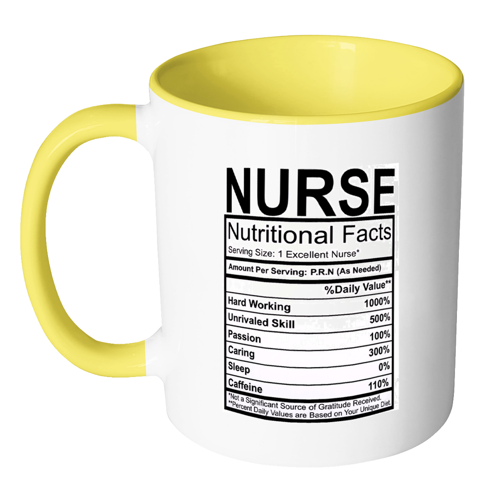 c3b04b57 Nurse Nutritional Facts Label 11oz Accent Mug - MinGift