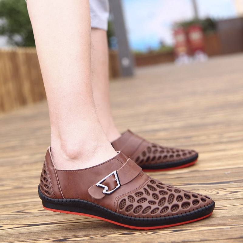 25d94d1e0e0ee Men Shoes Casual Genuine Leather Shoes Mens Luxury Brand Summer Leisure  Breathing Flats For Men New Zapatos Hombre