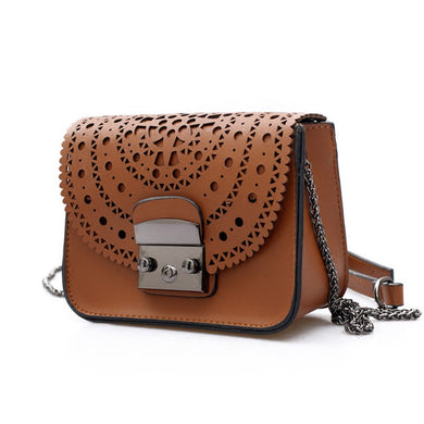 06cd79308f1a 2018 Fashion Small Bag Women Messenger Bags Soft PU Leather Hollow Out  Crossbody Bag For Women