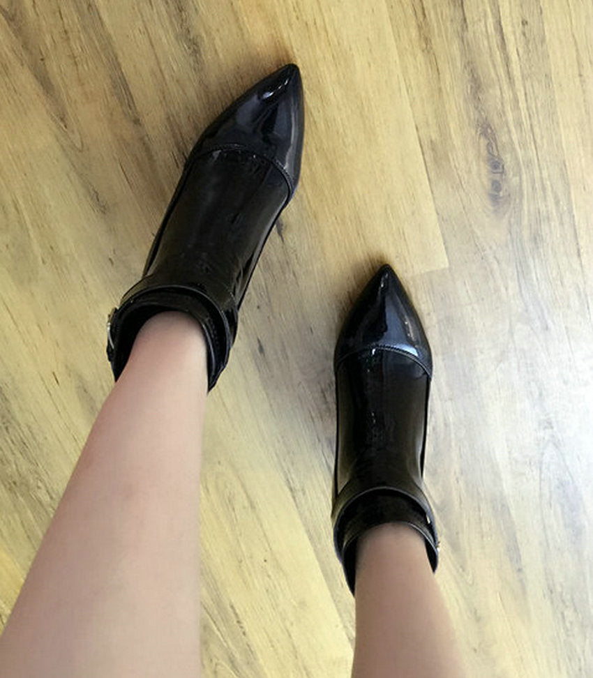 63423ab20 ... Burgundy Pointed Toe Pu Patent Leather Women Shoes Zipper Square High  Heel Ankle Boots Women Motorcycle ...
