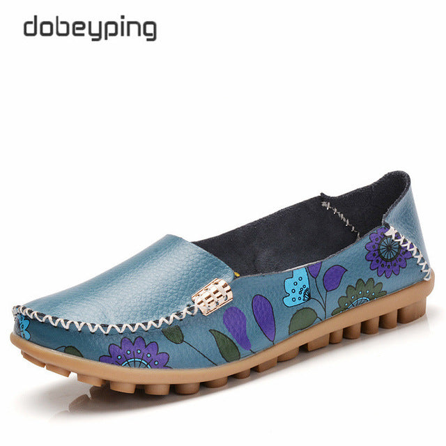 86f1062c24d 2018 New Design Print Flower Women s Casual Shoes High Quality Genuine  Leather Women Flats Slip On