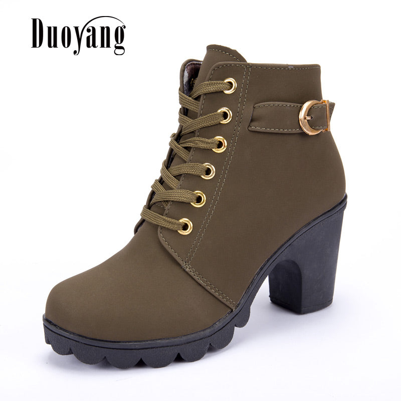 8a07edac1f4 ... High Quality Solid Lace-Up European Ladies Shoes Pu Fashion High Heels Boots  New Autumn ...