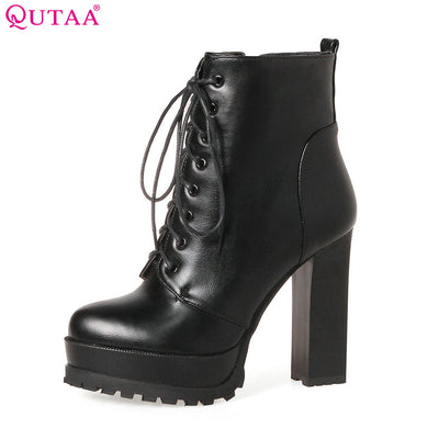 a33ccdbb8125 2018 Women Ankle Boots Square High Heel Lace Up Pointed Toe Women Platform  Black Ladies Motorcycle