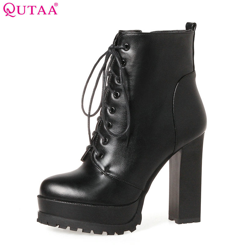 7712375504ea ... 2018 Women Ankle Boots Square High Heel Lace Up Pointed Toe Women  Platform Black Ladies Motorcycle ...