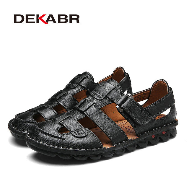 e7e74df32bb Brand Men Casual Beach Shoes High Quality Summer Sandals Soft Sole Fashion  Men Genuine Leather Slippers