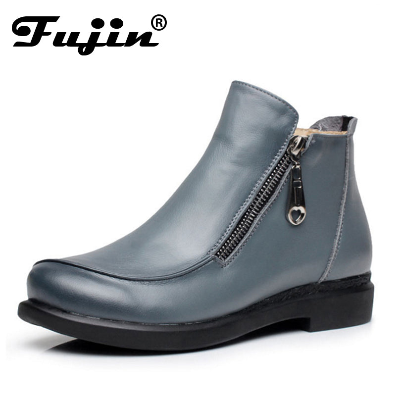 21fafb8f8bef9 ... New Autumn Lady Winter Short Flat Heels Shoes Genuine Leather Boots  Side Zipper Women Ankle Boots ...