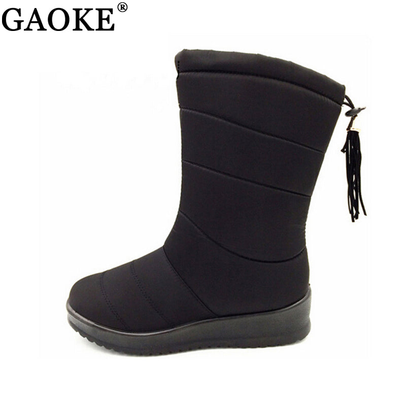 bbbe502e6a2d3 Winter Women Boots Mid-Calf Down Boots Female Waterproof Ladies Snow Boots  Girls Winter Shoes Woman Plush Insole Botas Mujer