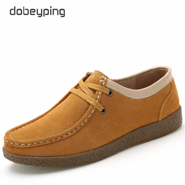 3aeeaa66250 ... dobeyping 2018 Spring Autumn Shoes Woman Cow Suede Leather Women Shoes  Lace-Up Women s Loafers ...