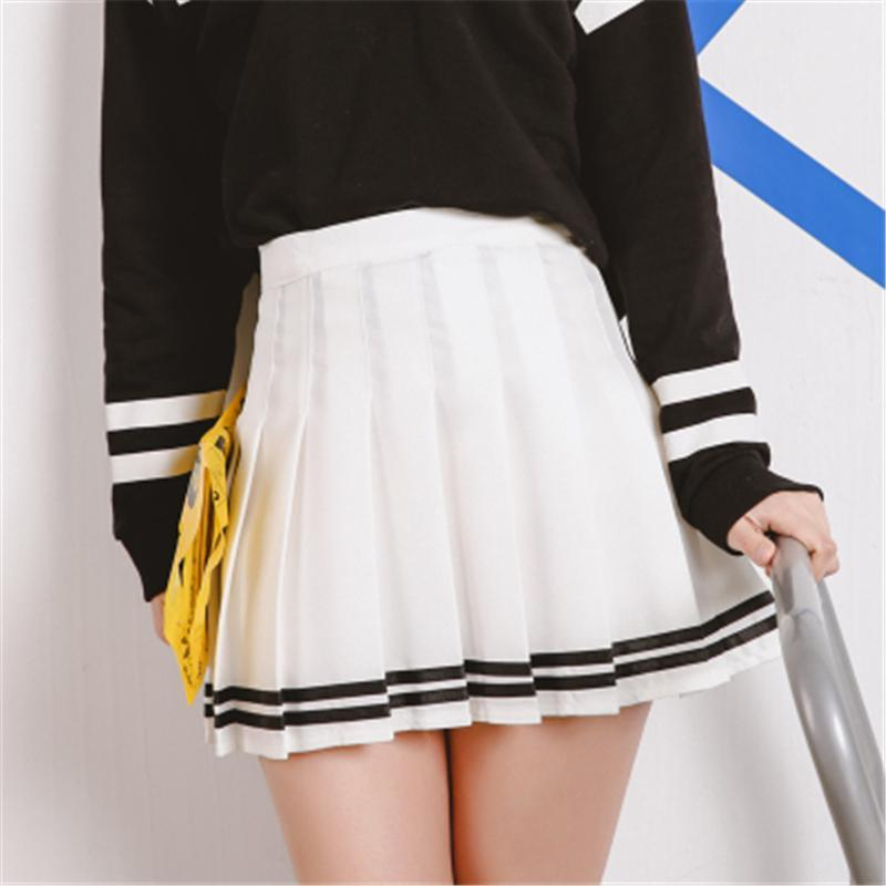 53eb1b1e94 ... Drop Ship High Waist Ball Pleated Skirts Harajuku Girls Stripe A-Line  Sailor Skirt Cosplay ...