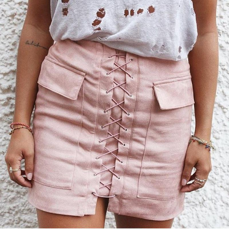 5d76b92c84 ... Women Vintage Midi Skirt High Waist External Pocket Tight Suede Lace Up  Skirt Autumn Winter Thick ...