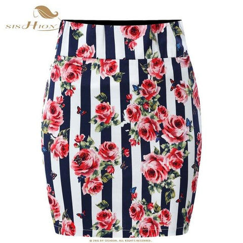 5ba194af4 ... SISHION Mini Skirt 2018 Summer Black White Red Women Polka Dot Plaid Floral  Print Plus Size
