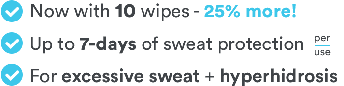 Includes 10 Clinical Strength Antiperspirant Wipes. Stop sweat for up to 7-days per use. Perfect for Hyperhidrosis and excessive sweating.