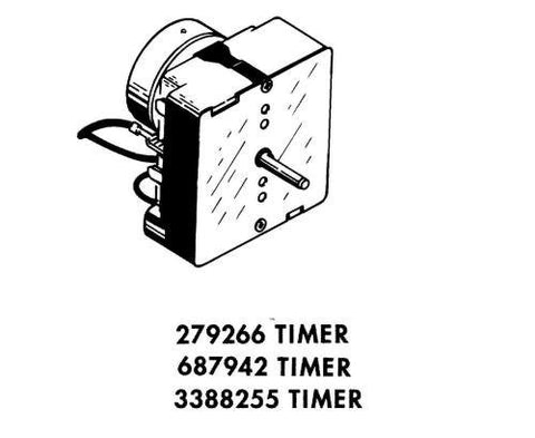 Whirlpool Part Number 3388255: Timer, Control (60 Hz.) (Dryer) (Timer Motor Not Serviceable)