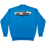 SEATING IN A BLUE DESIGN CREWNECK