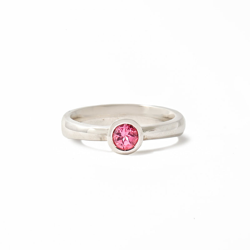 Sterling silver solitaire featuring a pink tourmaline