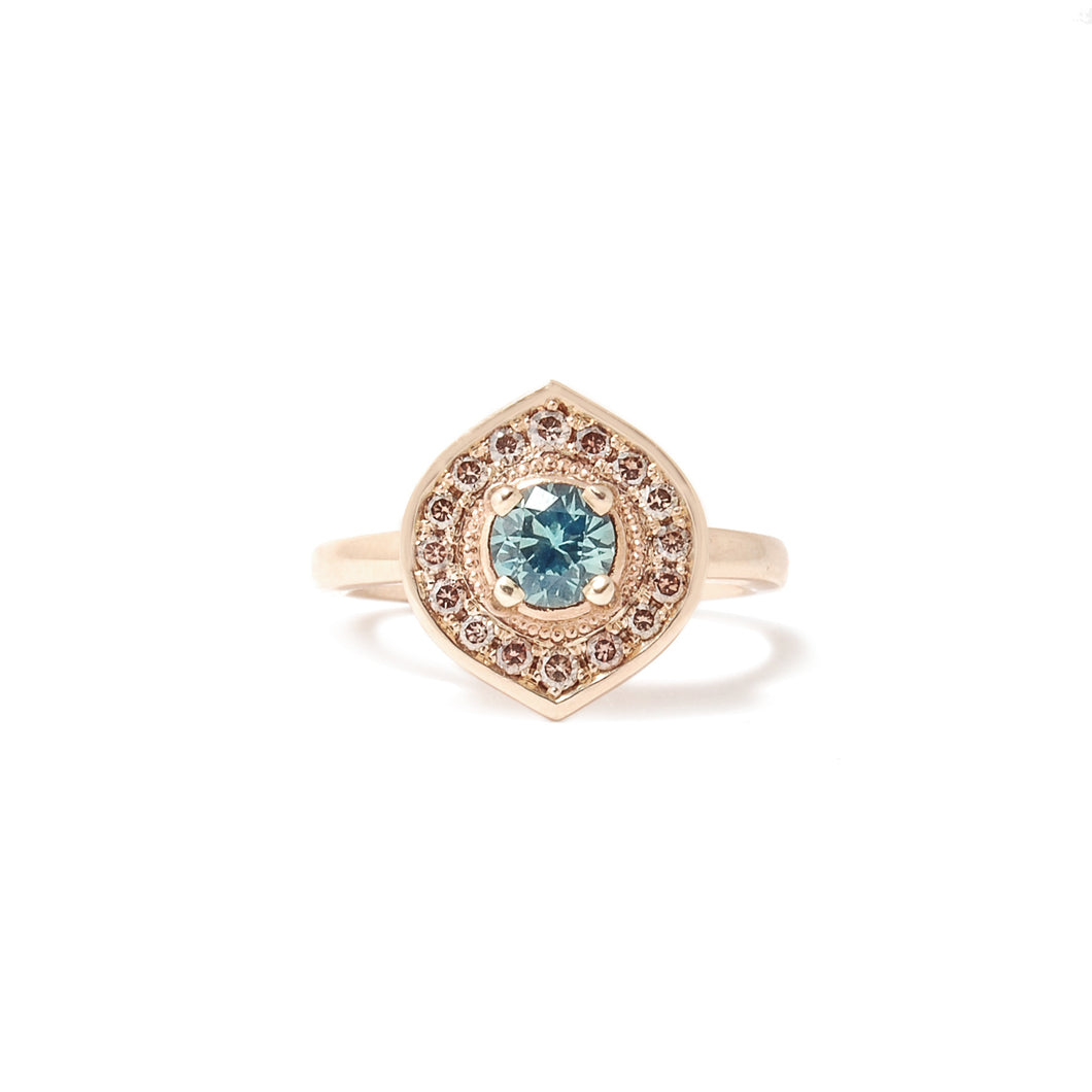 Teal Sorbet Sapphire - Marquise Halo Collection