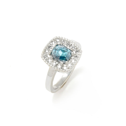Teal Diamond Ring