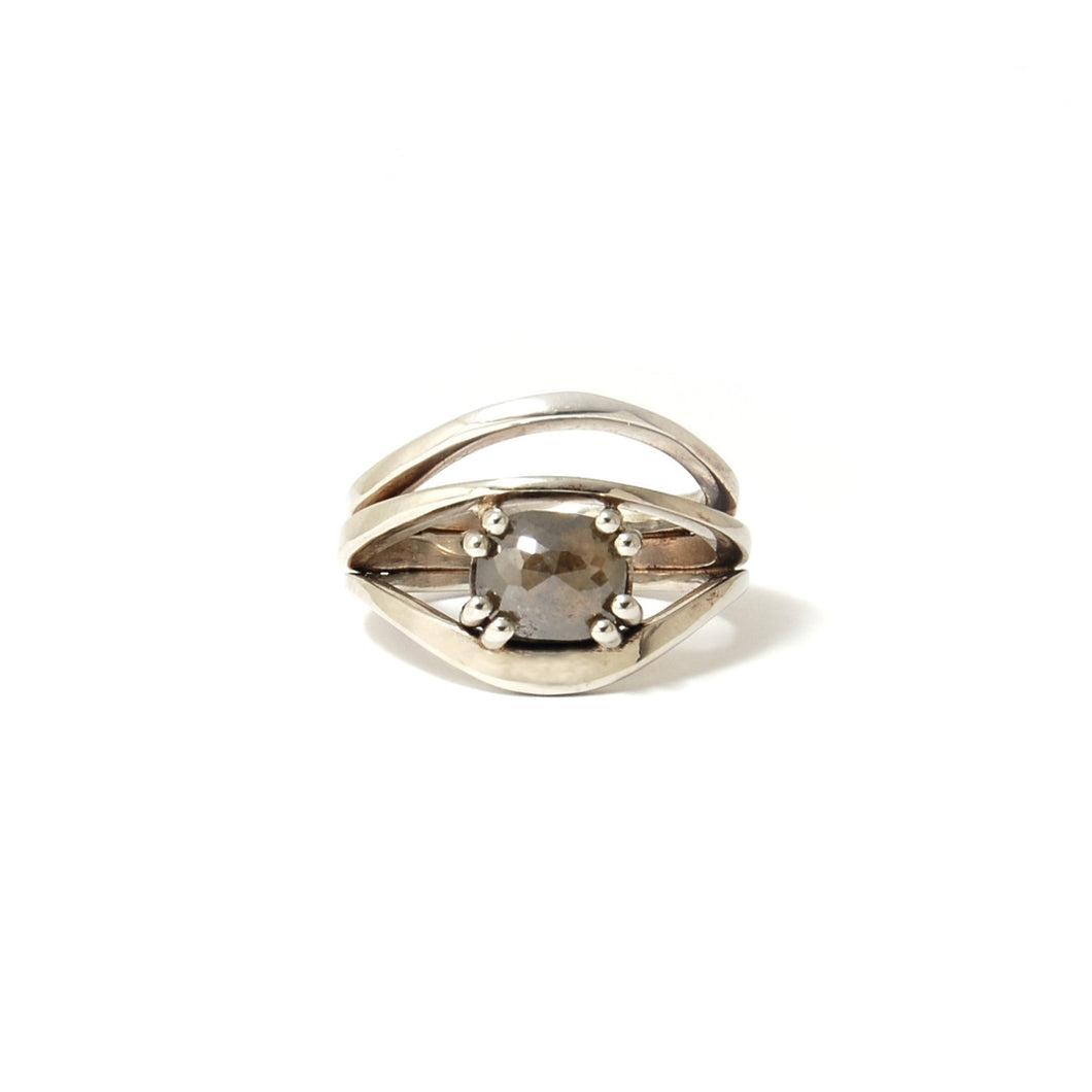 Deep Grey Cushion Rose Cut Diamond Ring