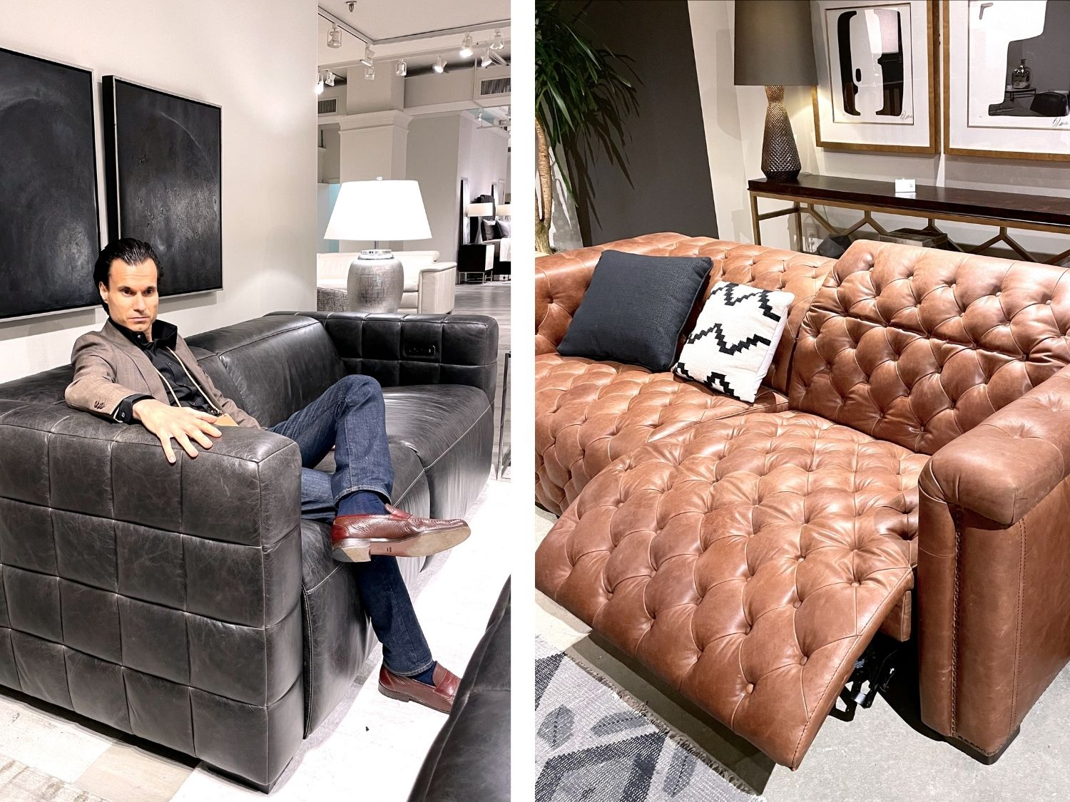 photo collage of alex petrov on black reclining couch and brown motion furniture piece