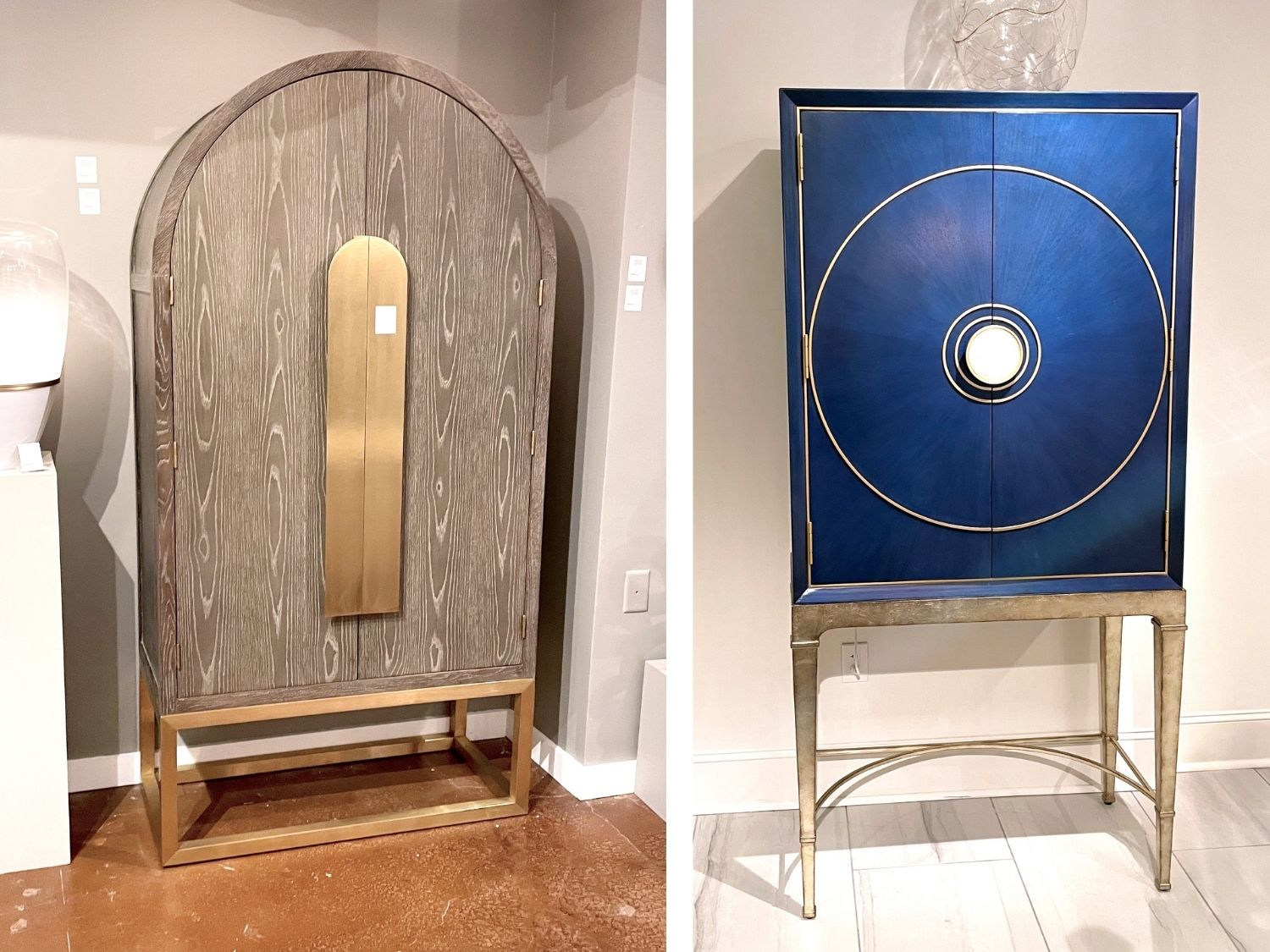 two large wardrobe armoires and art pieces