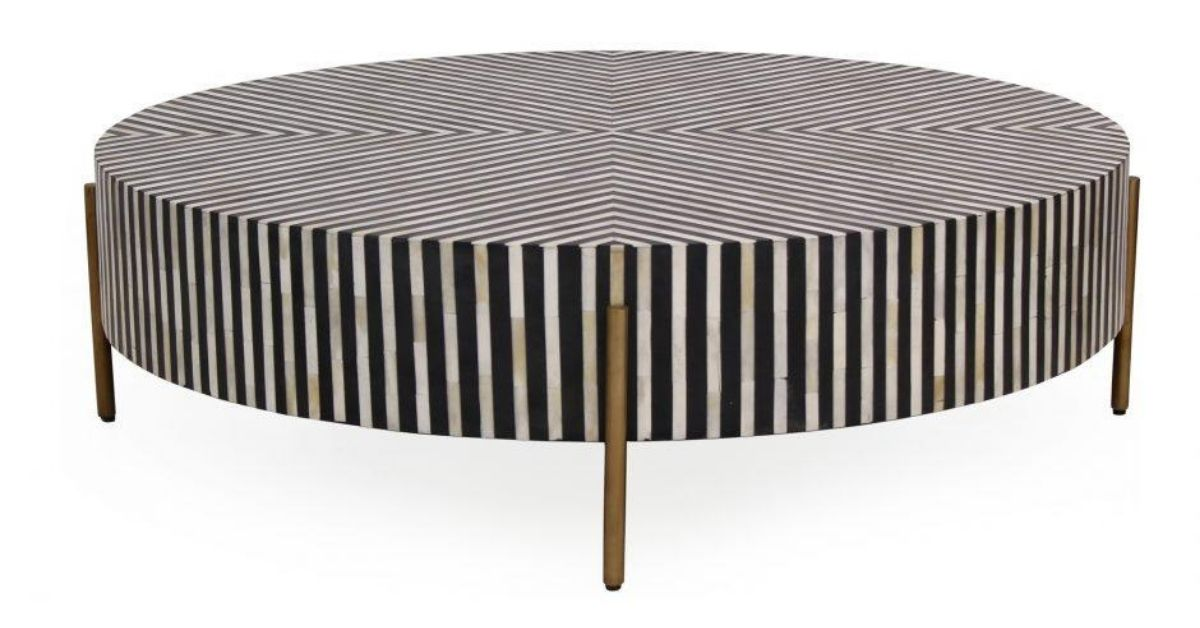 Black and white chameau coffee table