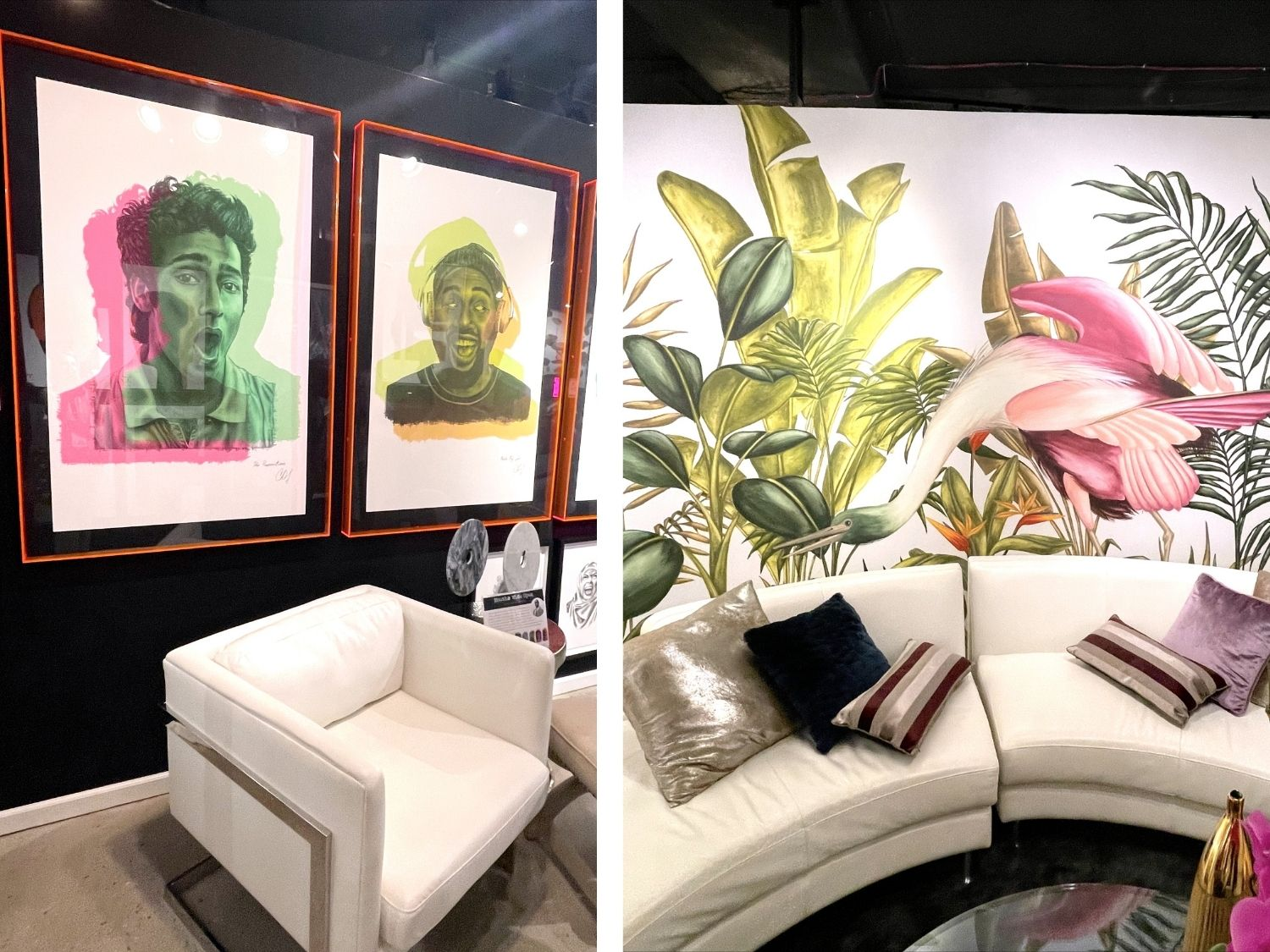 two custom pieces of abstract art at highpoint market