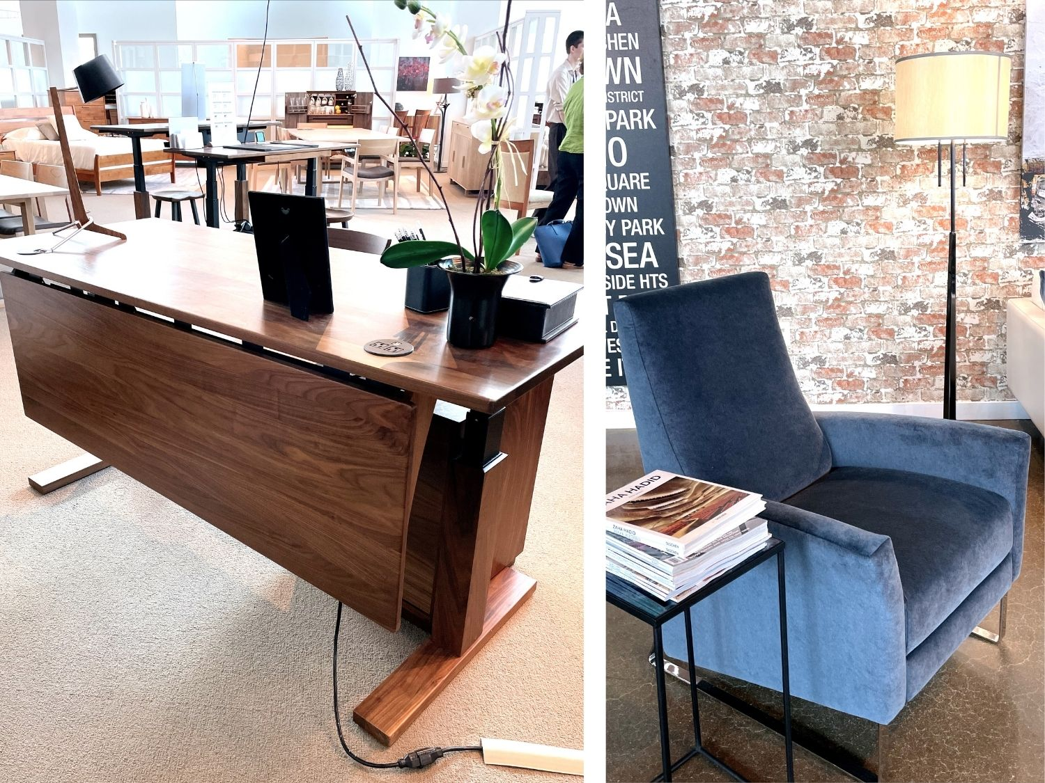 attractive wooden standing desk and blue velvet reclining chair