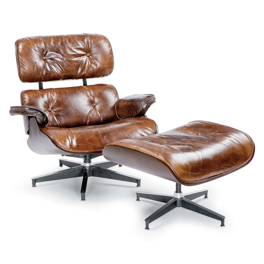 Brown Leather Lounge & Ottoman
