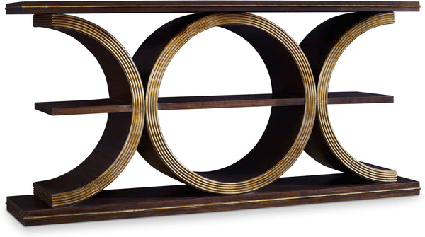 Console Table In Brown Finish With Gold Underton-Console Table-yZiGN Interior Design