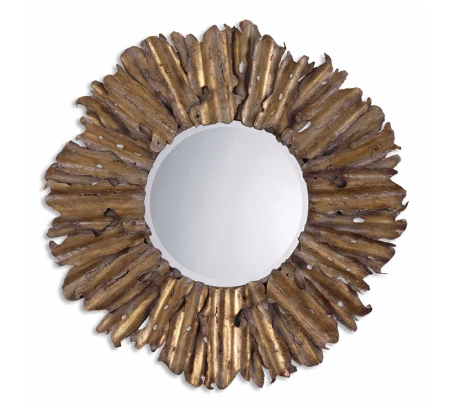 Metal Frame Mirror in Antiqued Gold Finish